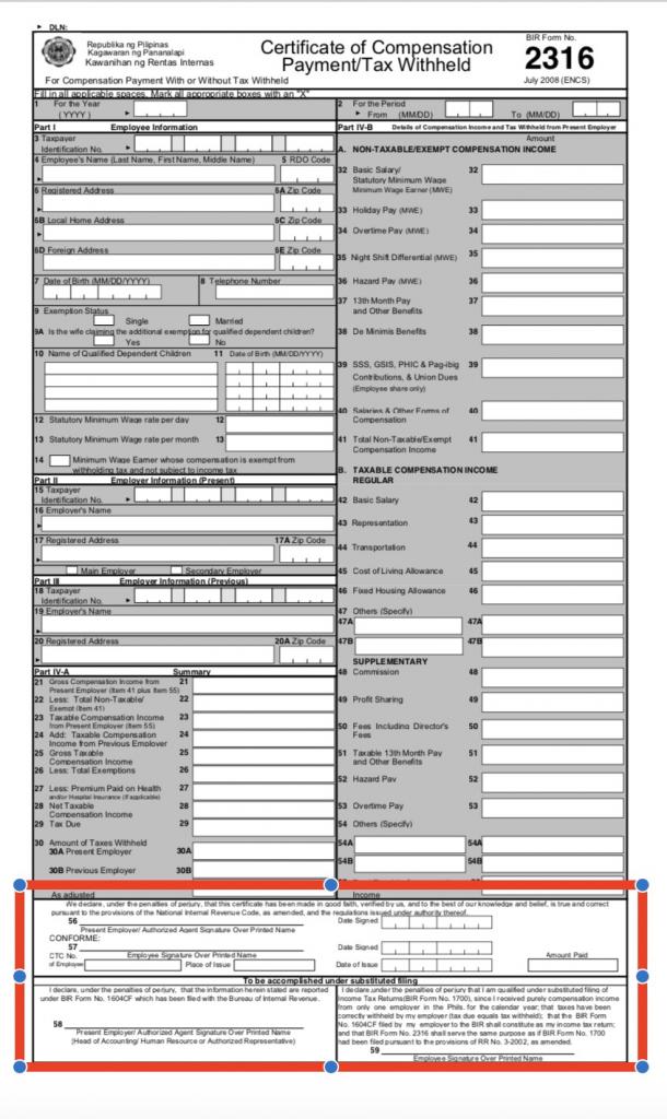 BIR Form 2316 6