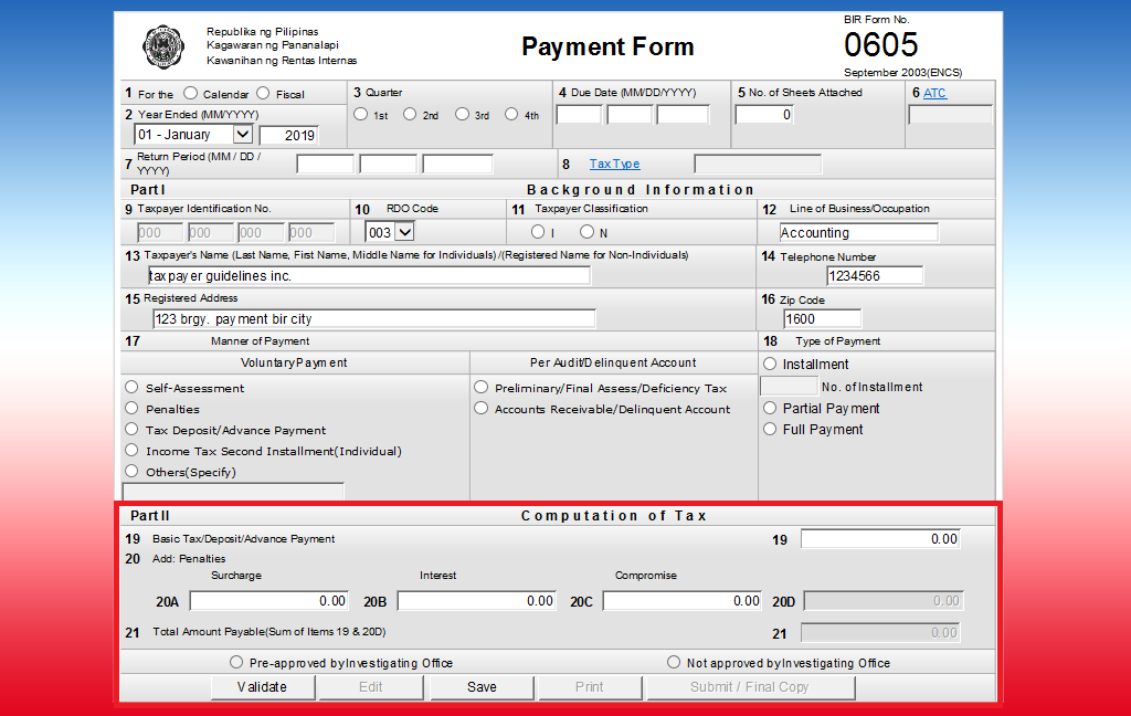Ebirform 0605 Payment Form